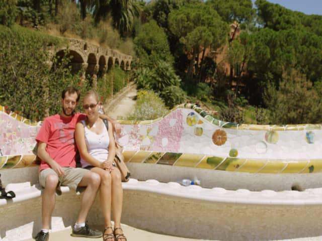 Pedro y Abby en Parque Güell Barcelona