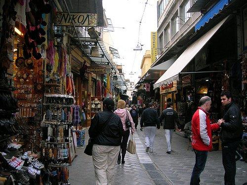 Barrio que se llama Monastiraki en Atenas, Grecia