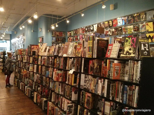 Bookcases at Forbidden Planet New York