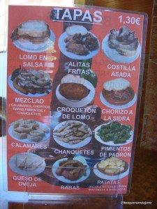 Tapas del Bar El Churrasco, Calle Van Dyck Salamanca