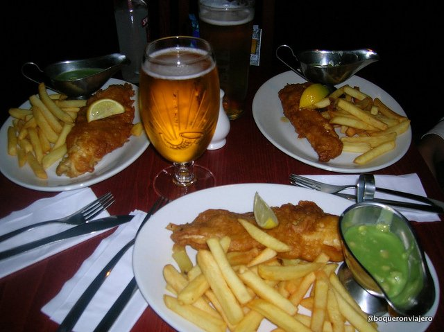 Fish and chips with mushy peas in Edinburgh
