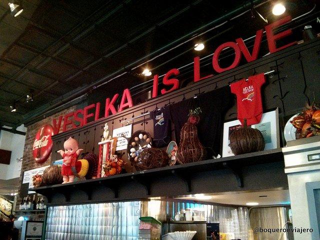 Venta de productos en Restaurante Veselka Nueva York