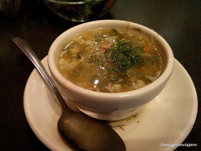 Sopa vegetal Restaurante Veselka Nueva York