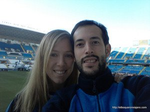 Pedro and Abby at the soccer stadium La Rosaleda