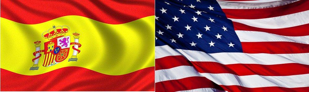 Banderas de España y Estados Unidos