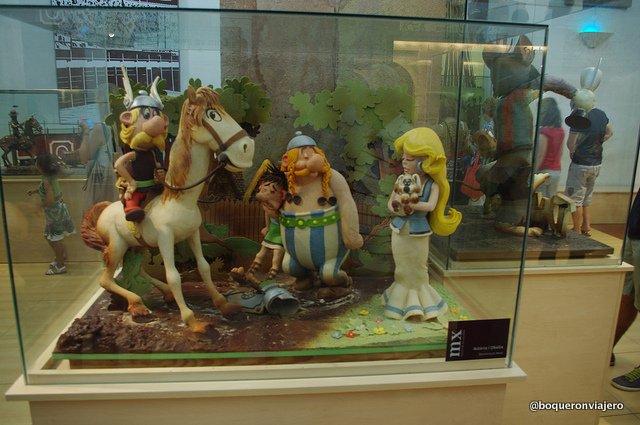Asterix y Obelix de chocolate en el Museo de la Xocolata de Barcelona
