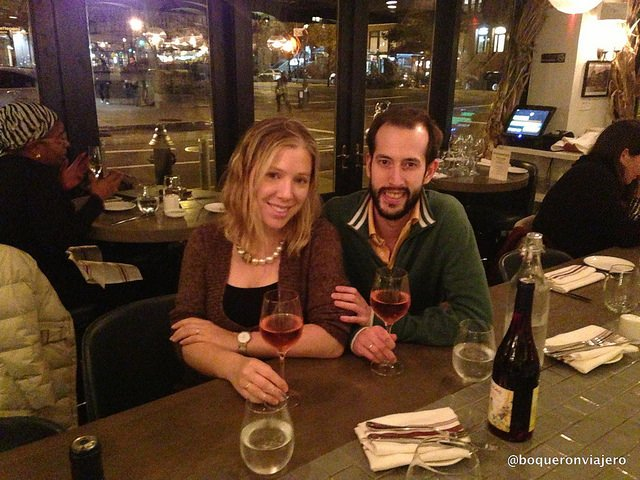 Pedro and Abby in Barawine Harlem Restaurant