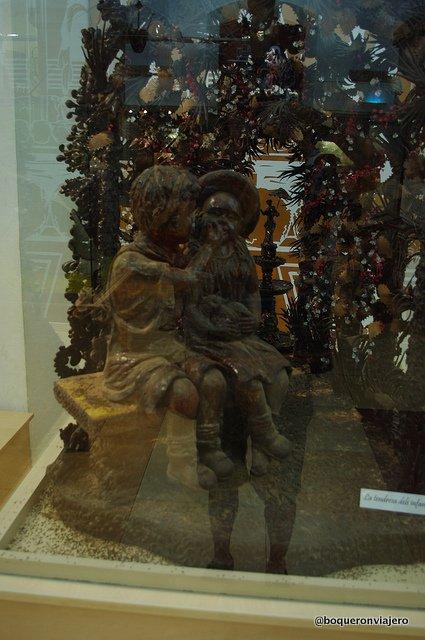 Escultura de chocolate en el Museo de la Xocolata de Barcelona
