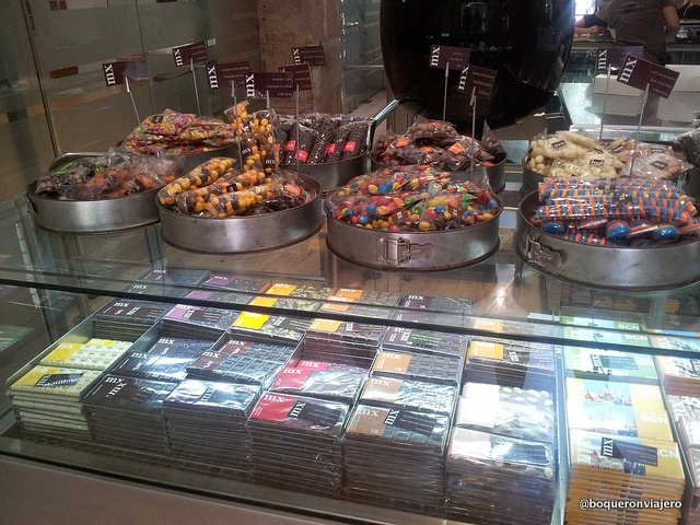 Chocolate shop in the Chocolate Museum in Barcelona