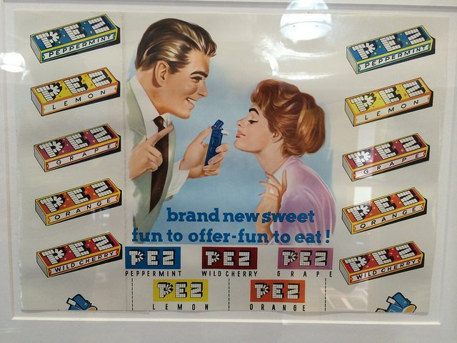 Old advertisement from Pez seen at the Pez Visitor Venter, Connecticut