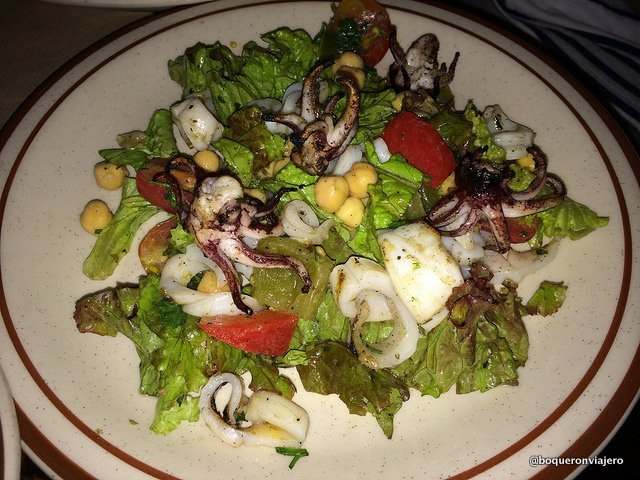 Grilled Calamares with garbanzos in the Beehive Restaurant, Boston