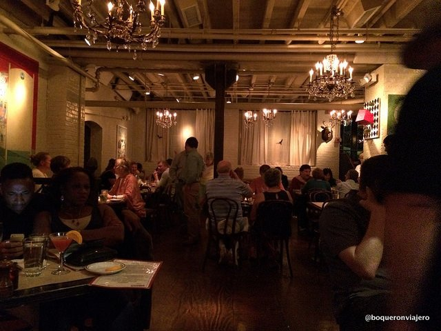Dining room in the Beehive Restaurant, Boston