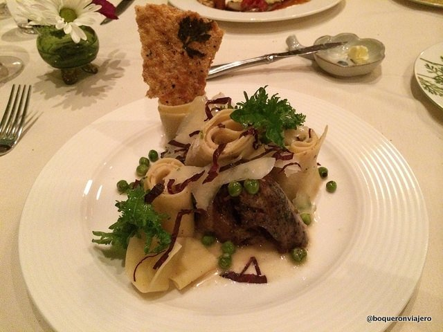 Parpadelle with duck confit in Bondir Restaurant Concord