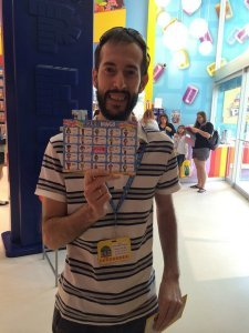 Pedro finished the bingo game at the Pez Visitor Center, Connecticut