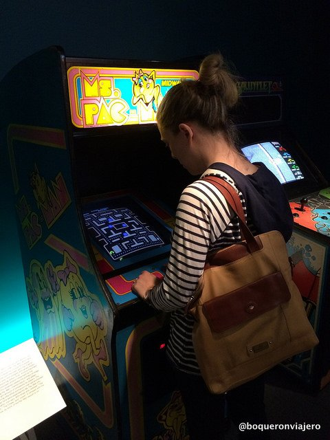 Abby playing Pac Man at the Museum of the Moving Image in Queens
