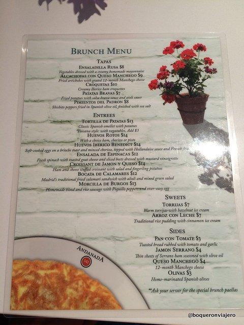 Brunch menu at Andanada Restaurant, NYC