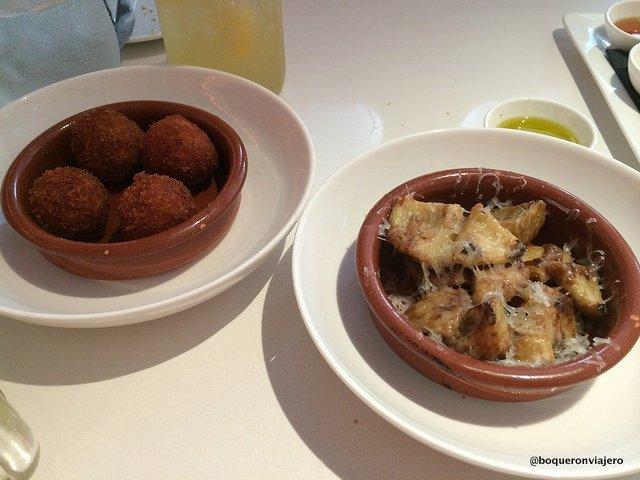 Croquetas and gratine artichokes at Andanada Restaurant, NYC