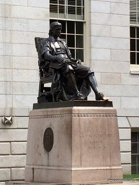Statue of John Harvard on the campus of Harvard, Cambridge MA
