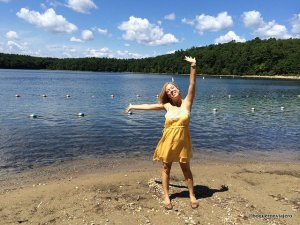 Abby en Walden Pond, Concord, Massachusetts