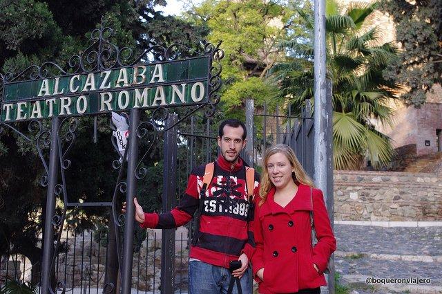 Abby y Pedro en La Alcazaba de Málaga