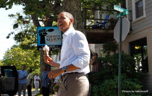 President Obama at Mount Desert Island Ice Cream, Bar Harbor, Maine