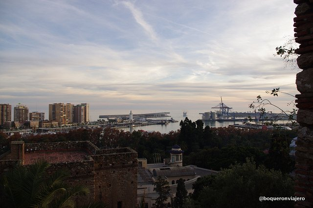 Views of the harbor from The Alcazaba of Malaga