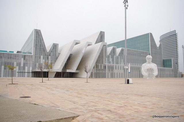 Buildings and sculptures of letters at the Zaragoza Expo Area