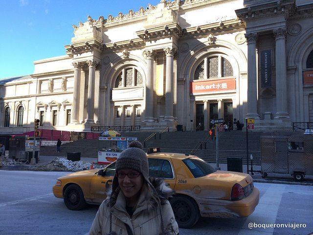 Abby at the entrance of the MET, New York
