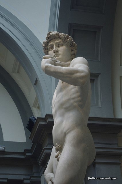 The pose of Michelangelo's David in Florence
