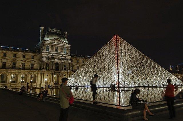 Museo del Louvre de noche en París