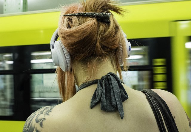 Listening to music on the subway