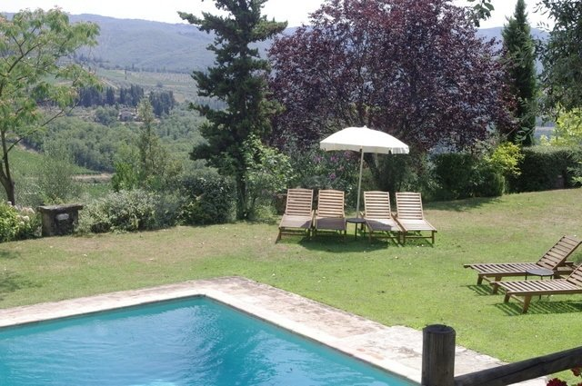 The pool with views of Tuscany