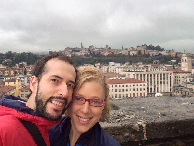Vistas desde la Torre del reloj en Bérgamo