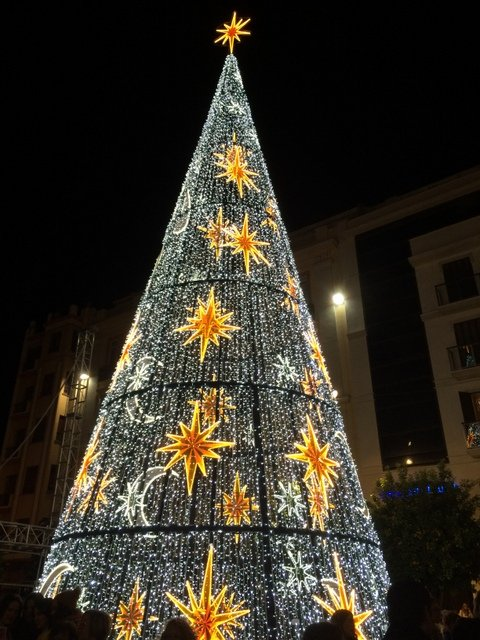Christmas Tree made of lights on Calle Larios
