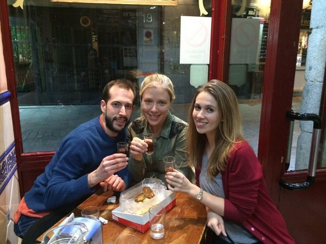 Enjoying sweet wine with Debbie, our guide on the Devour Madrid tour.