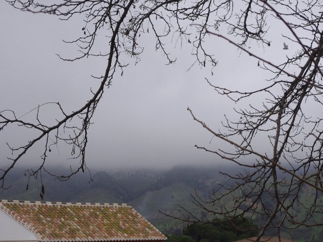 The fog hanging over the mountains in Carratraca, Málaga
