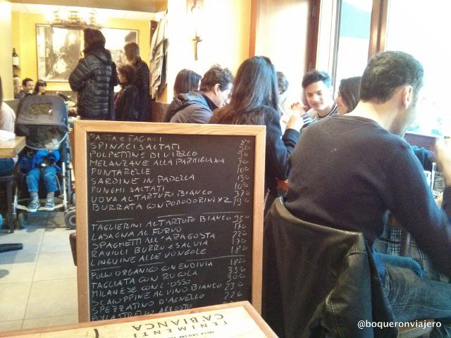 The chalkboard with the specials at Bar Pitti in the West Village of New York