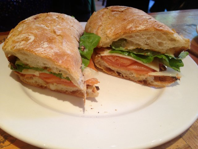 A Panino sandwich at Bar Pitti in the West Village of New York