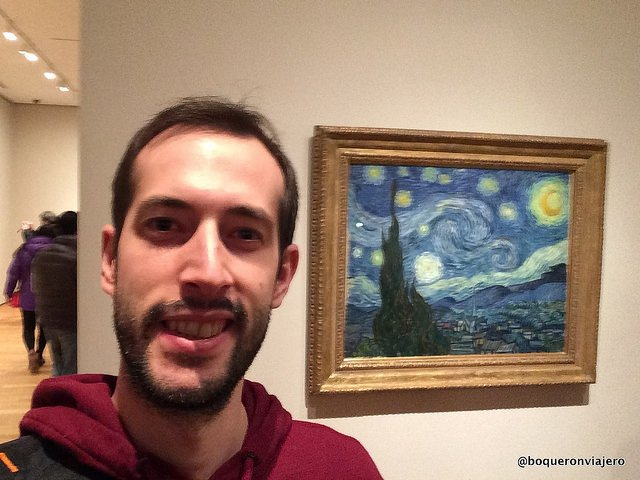 Pedro enjoying the famous work of Van Gogh in MoMA
