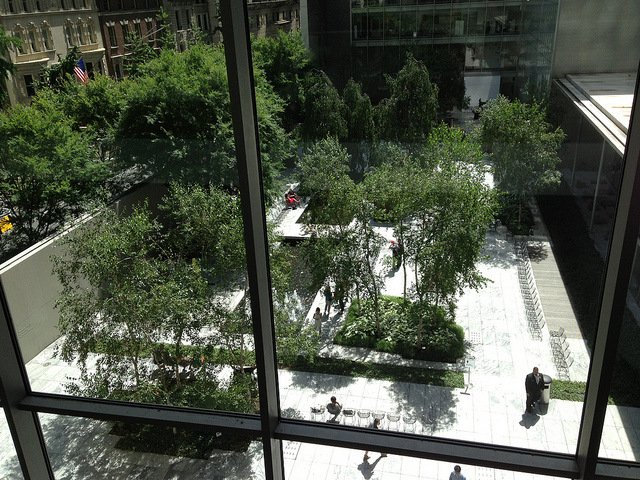 The sculpture garden is a great place to take a rest when you visit MoMA in New York