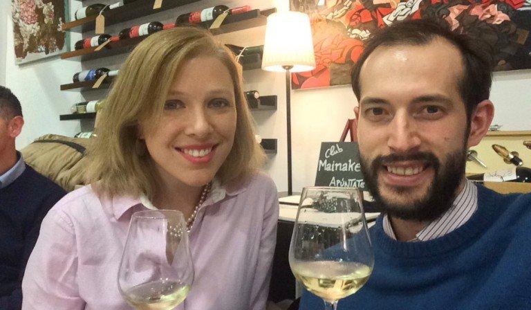 Abby and Pedro at Mainake Vinos for the wine tasting with the Bodega el Niño de la Salina