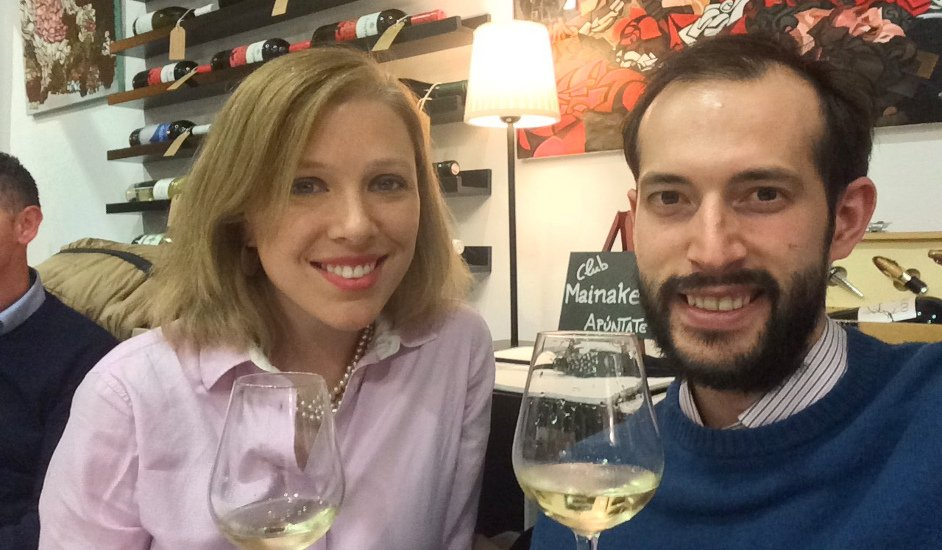 Abby and Pedro at Mainake Vinos for the wine tasting with the Bodega el Niño de la Salina