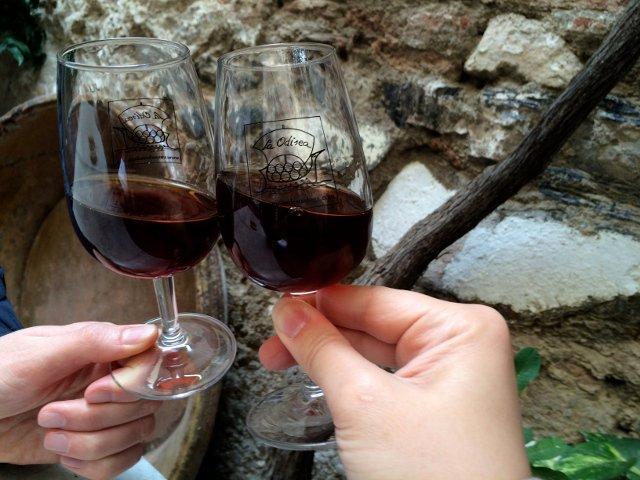 Brindando en La Odisea de los Vinos en Málaga