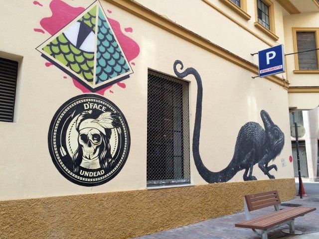 Arte callejero en Málaga del famoso camaleón