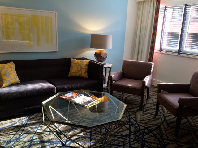 Living room of the suite at the Hotel Palomar in Washington DC