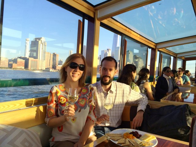 Enjoying wine and a cheese plate on the Classic Harbor Line Jazz Cruise