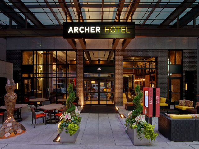 Entrance and Patio of the Hotel Archer