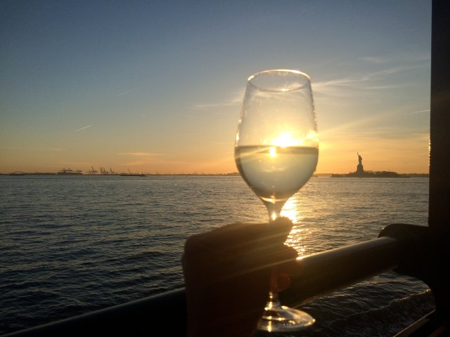 Lady Liberty with a glass of wine
