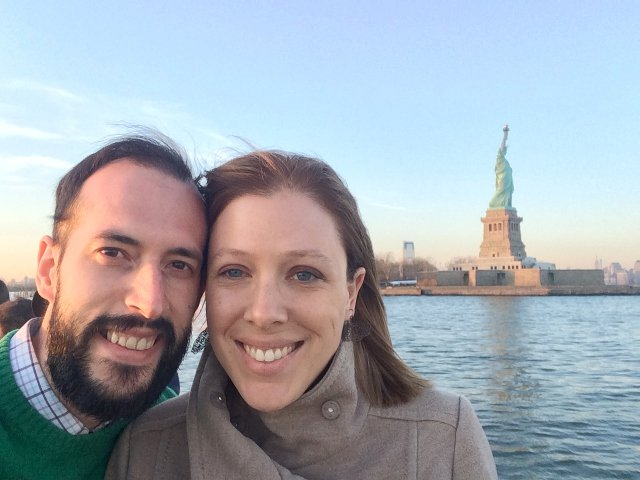 Pedro and Abby with Lady Liberty on the Classic Harbor Line Jazz Cruise