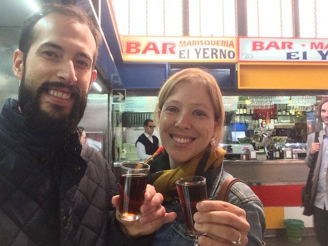 Enjoying the Malaga sweet wine on a Devour Malaga Food Tour